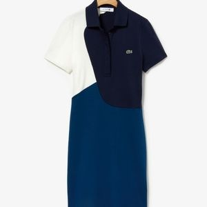 Lacoste Womens Color-Block Cotton Polo Dress